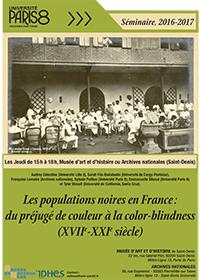"""Affiche du séminaire """"Les populations noires"""" 2016-2017"""