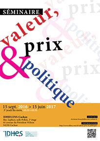 """Affiche du séminaire """"Valeur, prix et politique"""""""