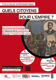 """Affiche colloque """"Quels citoyens pour l'empire ?"""", 8-9 décembre 2016"""
