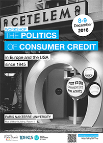 "Affiche workshop ""The Politics of Consumer Credit"", 8-9 décembre 2016"